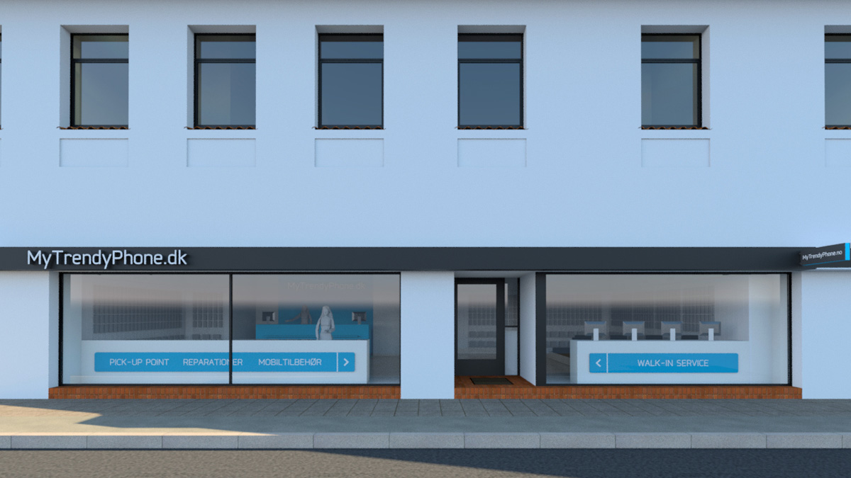 MyTrendyPhone Hillerød store facade day view 3d render