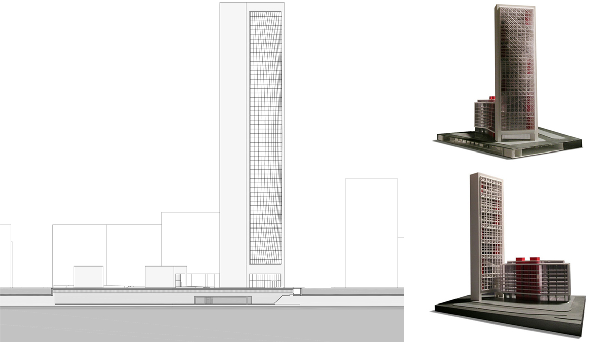 Chamber of commerce Barcelona project architectural drawing elevation and model photos