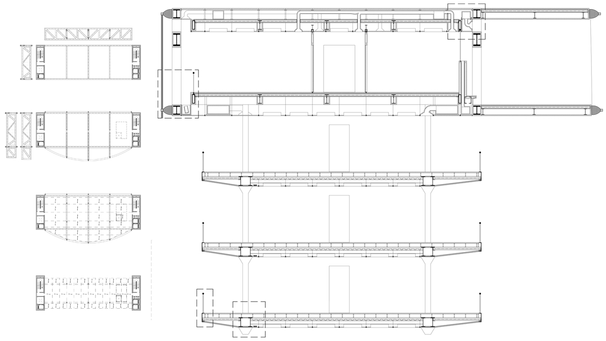 Chamber of commerce Barcelona project architectural drawing detailed sections