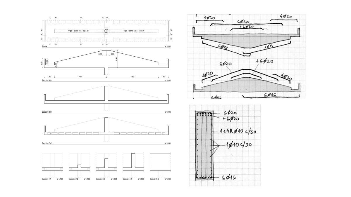 Civil center and offices Barcelona project structural element analysis results drawings