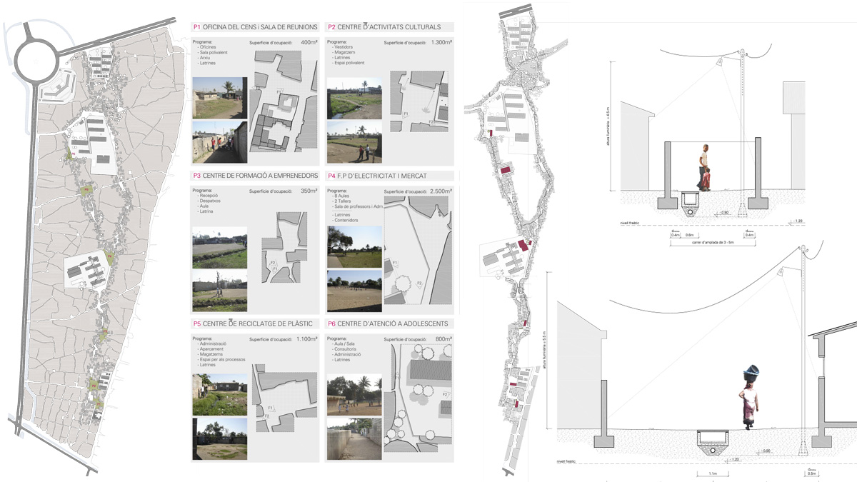 Maxaquene A Maputo project architectural drawing public spaces analysis