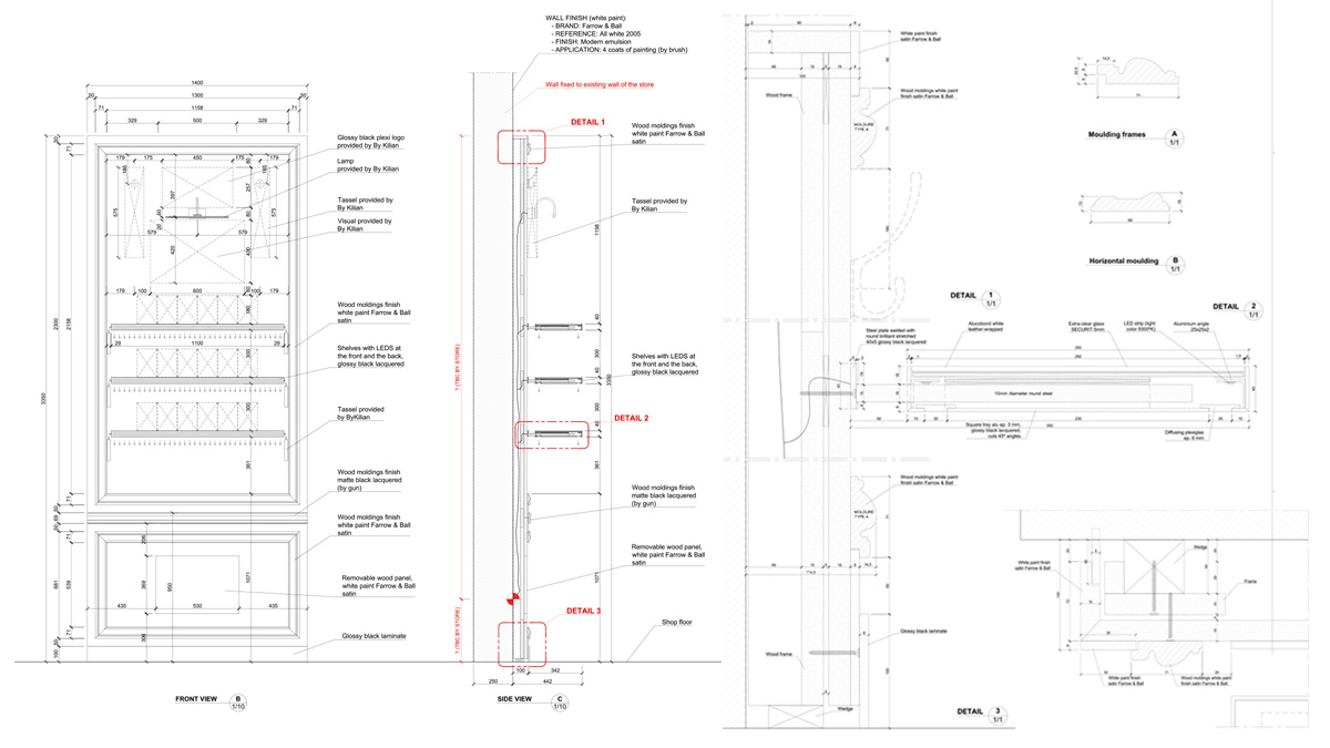 Metropoliten by kilian storage counter technical drawings
