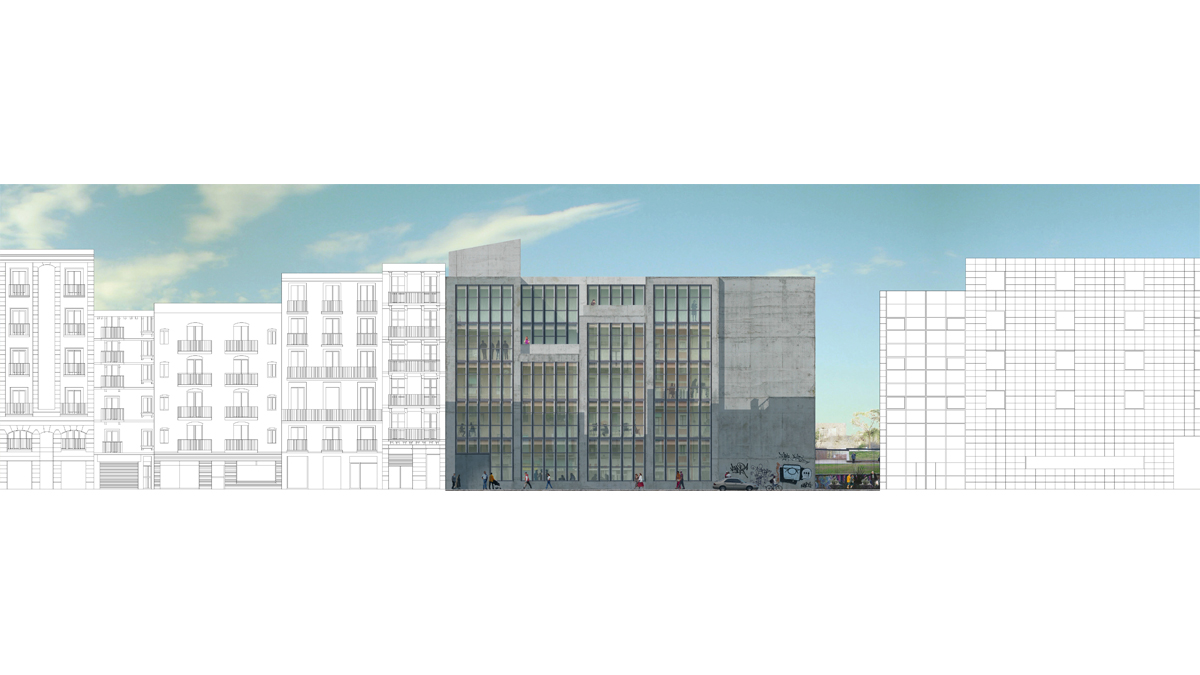 music conservatory barcelona project facade photoshop 2d visualization