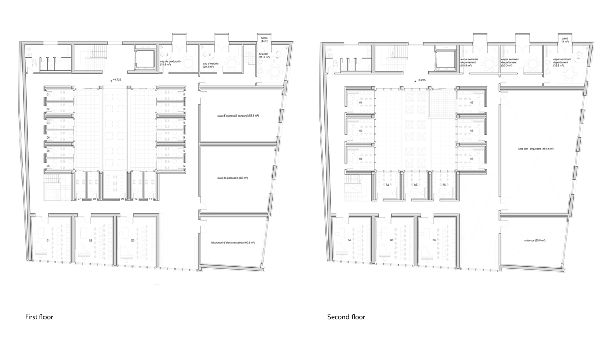 music conservatory barcelona project architectural drawing plans first and second floor