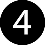white number four in a black circle