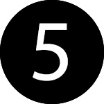 white number five in a black circle