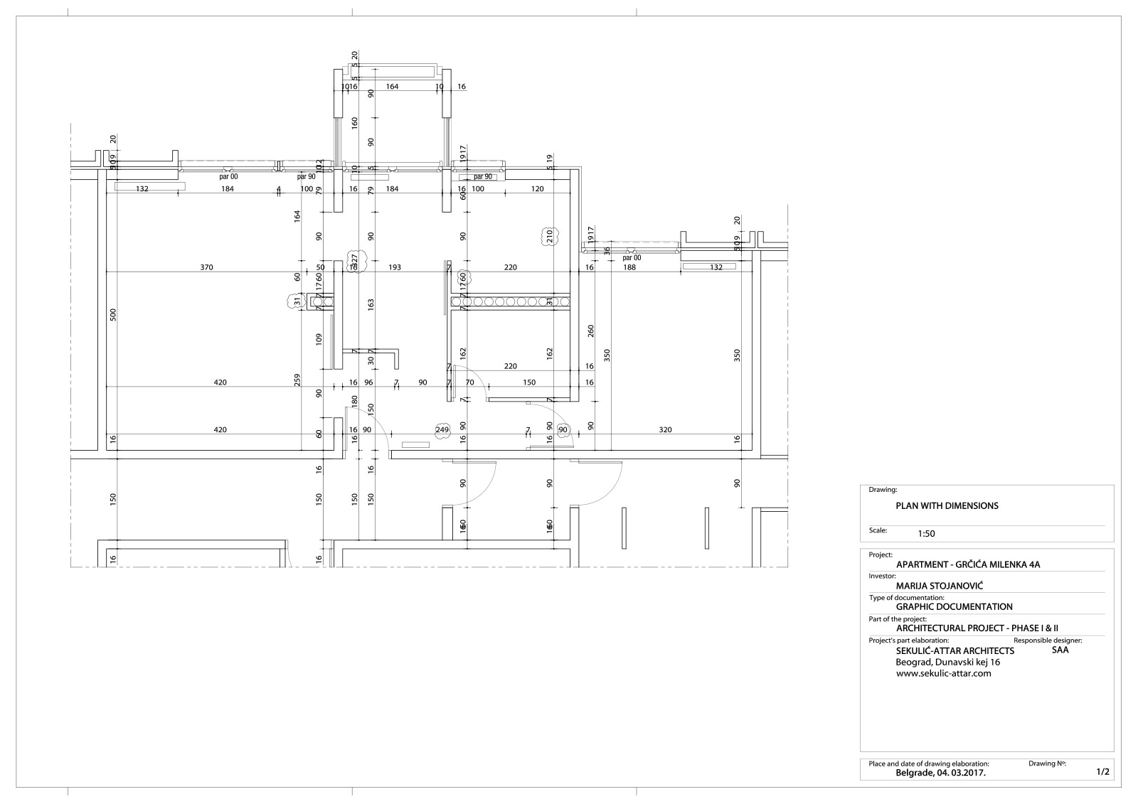 apartment in grcica milenka belgrade architectural drawing floor plan with dimensions