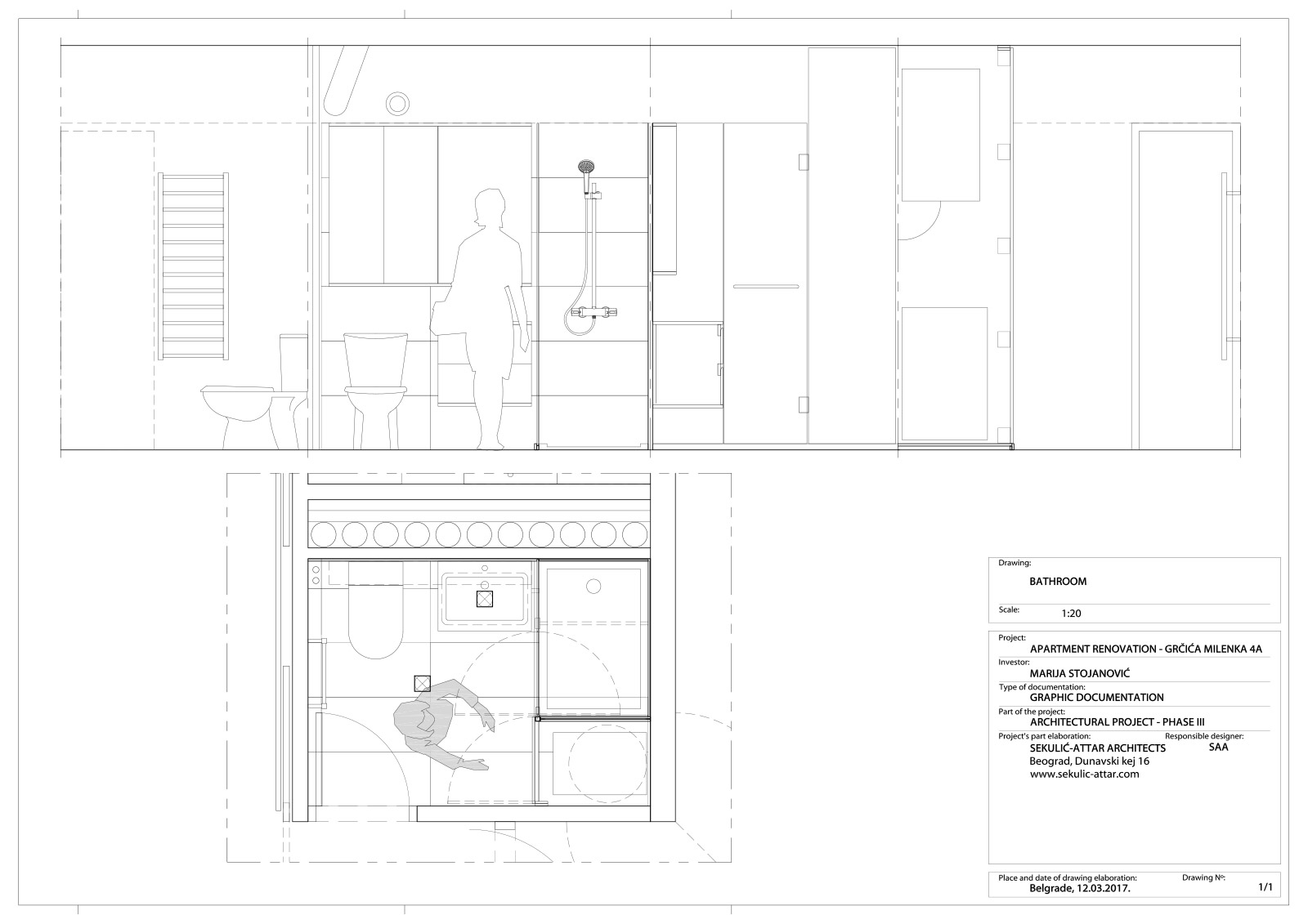 apartment in grcica milenka belgrade architectural drawings bathroom