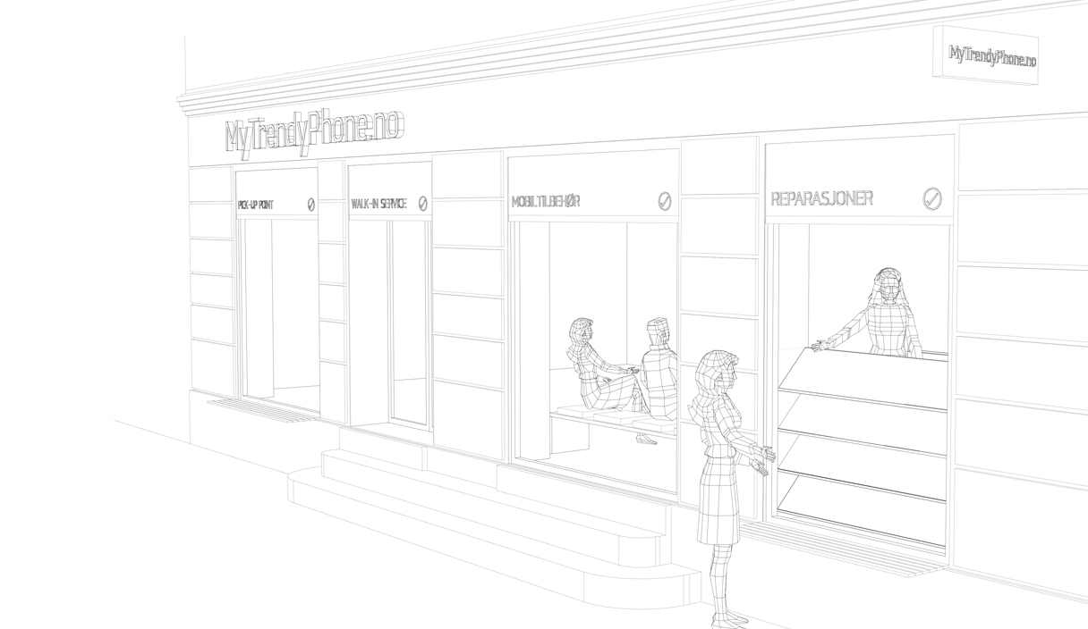 MyTrendyPhone oslo store facade signage 3d architectural drawing visualization