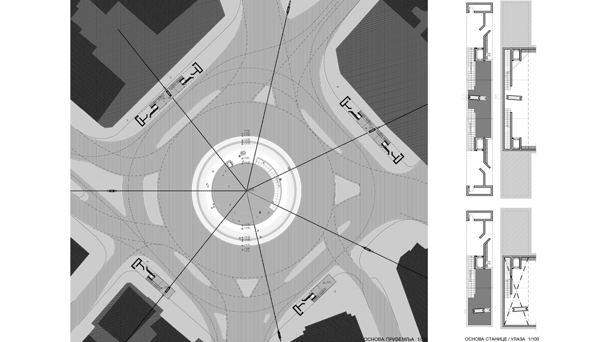 slavija square belgrade competition project architectural drawings floor plan and sections