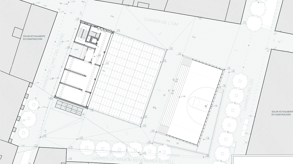 Youth center Barcelona project architectural drawing plan ground floor