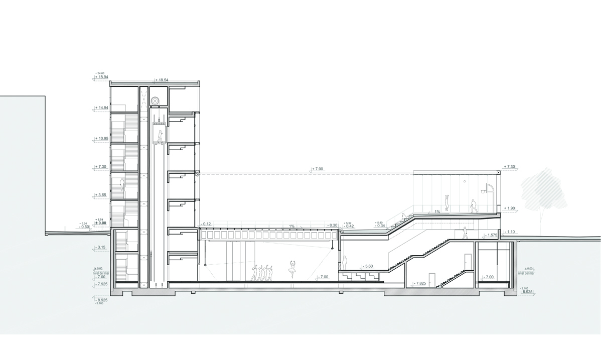 Youth center Barcelona project architectural drawing longitudinal section