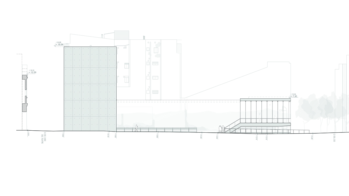 Youth center Barcelona project architectural drawing elevation 01
