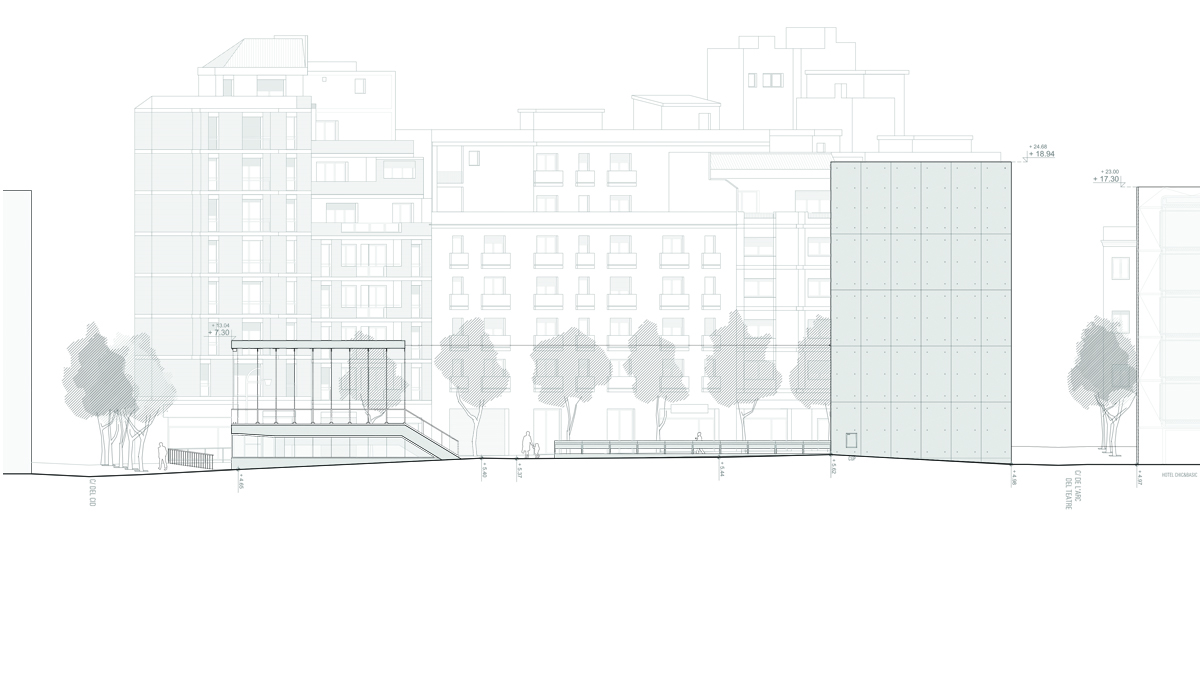 Youth center Barcelona project architectural drawing elevation 02