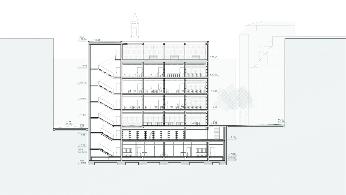 Youth center Barcelona project architectural drawing transversal section