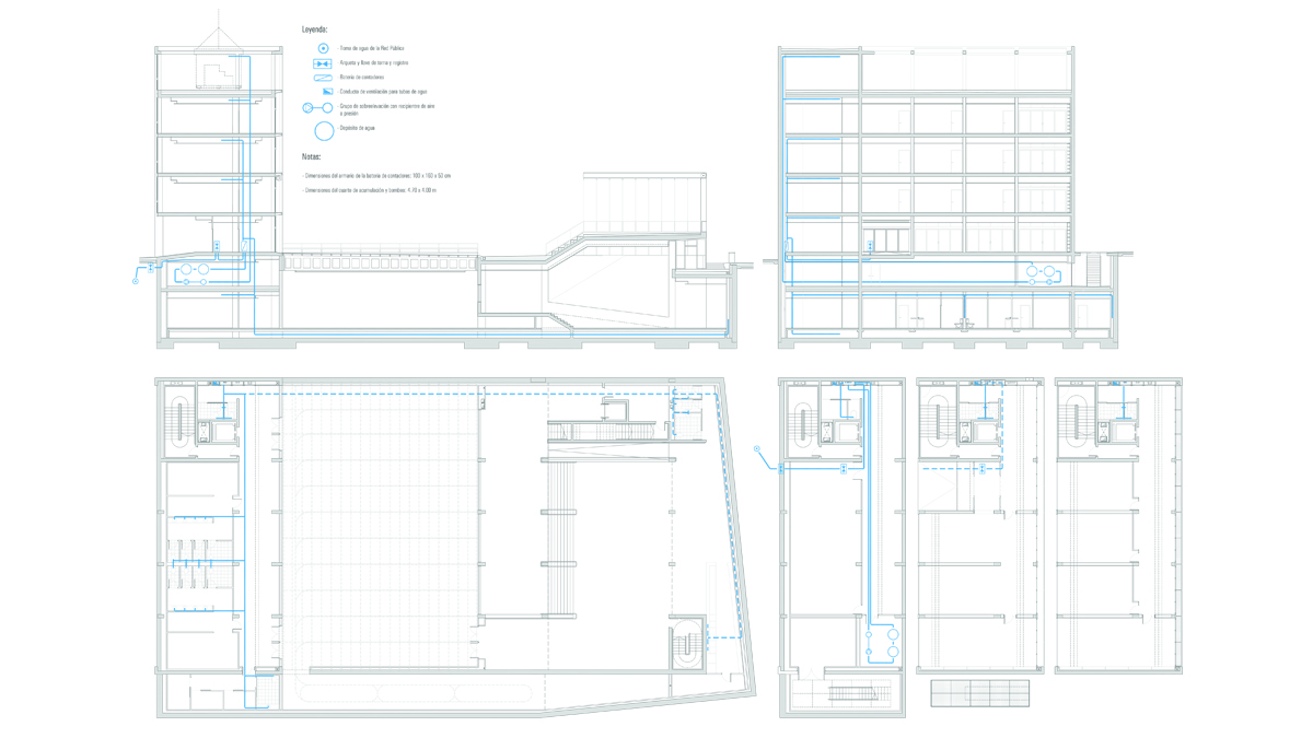 Youth center Barcelona project architectural drawings water installations