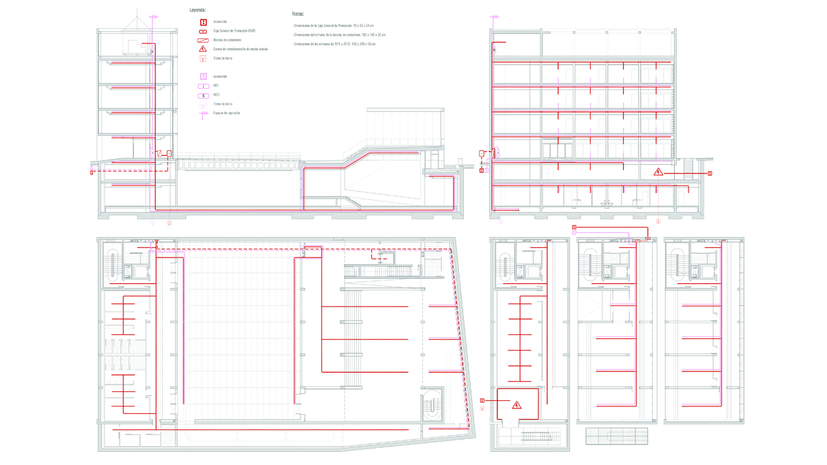 Youth center Barcelona project architectural drawings electrical and telecomunication installations