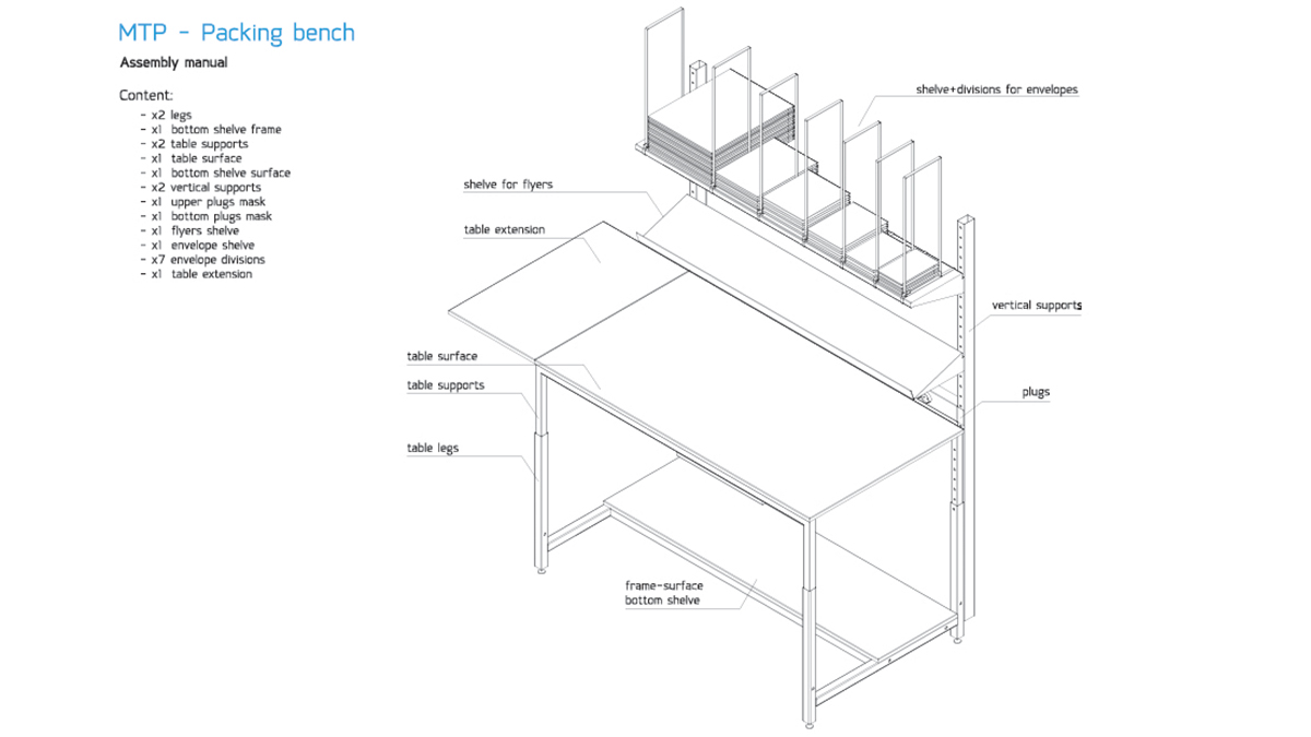 MyTrendyPhone packing bench assembled scheme technical drawing 3d
