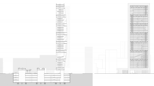 Chamber of commerce Barcelona project architectural drawings longitudinal section and elevation