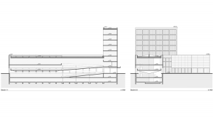 Civil center and offices Barcelona project architectural drawings longitudinal and transversal sections