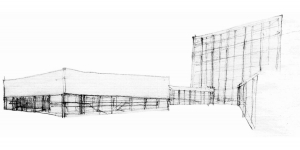 Civil center and offices Barcelona project hand drawing perspective