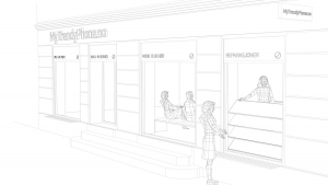 MyTrendyPhone oslo store exterior visualization 3d technical drawing