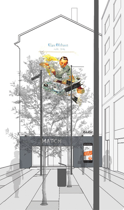 mytrendyphone graphic visualization of a customer stopper on a building facade in oslo