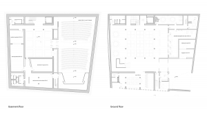 music conservatory barcelona project architectural drawing plans basement and ground floor