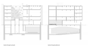 music conservatory barcelona project architectural drawing plans courtyard and auditorium sections