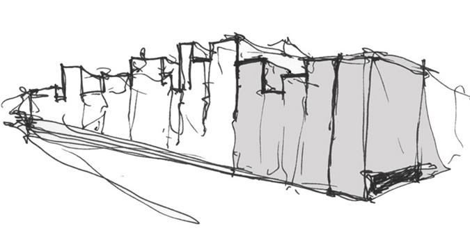 music conservatory barcelona project conceptual hand drawing