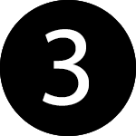white number three in a black circle