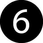 white number six in a black circle