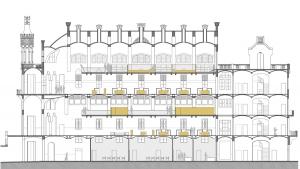 Sant Manel pavilion at Sant Pau Hospital Barcelona architectural drawing longitudinal section