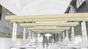 Sant Manel pavilion at Sant Pau Hospital Barcelona architectural rehabilitation interior intervention proposal croquis 01