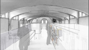 Sant Manel pavilion at Sant Pau Hospital Barcelona architectural rehabilitation interior intervention proposal croquis 02