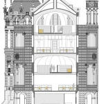 Sant Manel pavilion at Sant Pau Hospital Barcelona architectural drawing transversal section