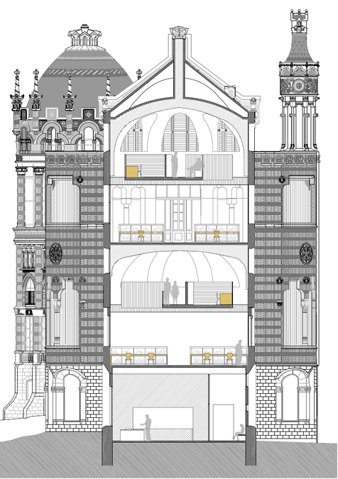 Sant Manel pavilion at Sant Pau Hospital Barcelona architectural drawing transversal section