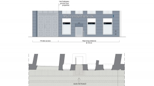 MyTrendyPhone copenhagen store facade exterior signage visualization architectural drawings