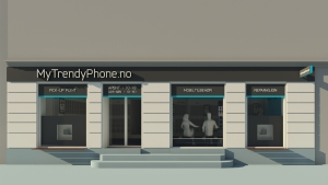 MyTrendyPhone oslo store facade signage 3d render visualization
