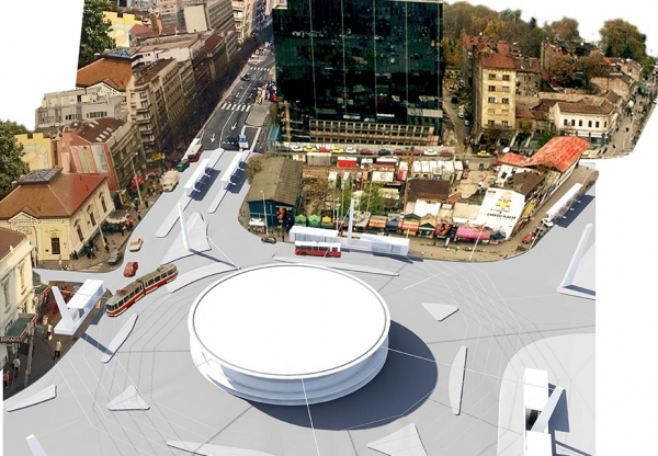 slavija square belgrade competition project photo-render collage