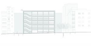 Youth center Barcelona project architectural drawing elevation 03