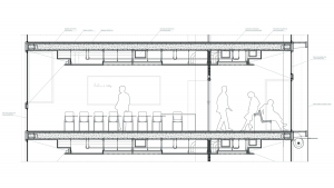 Youth center Barcelona project architectural drawing detailed section